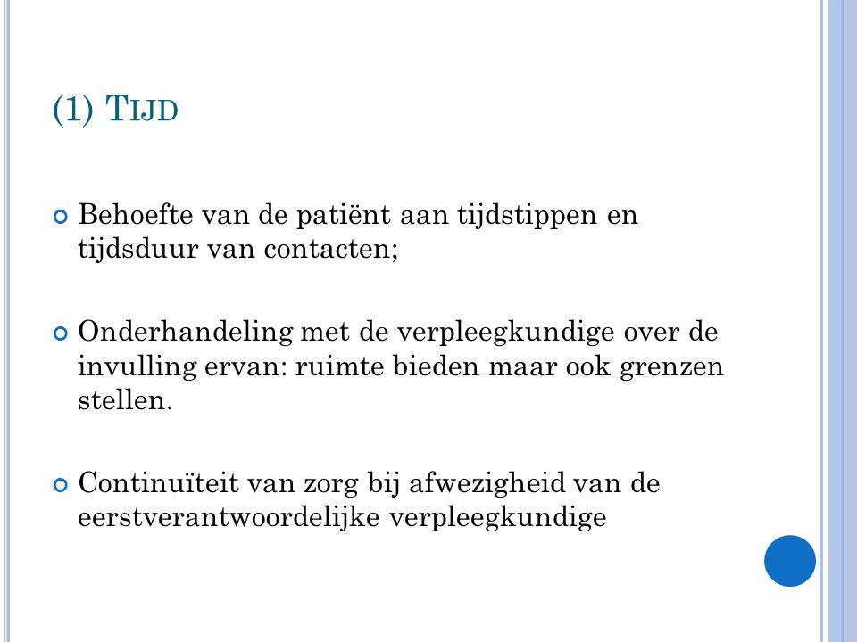 (1) T IJD Behoefte van de patiënt aan tijdstippen en tijdsduur van contacten; Onderhandeling met de verpleegkundige over de invulling ervan: ruimte bieden maar ook grenzen stellen.