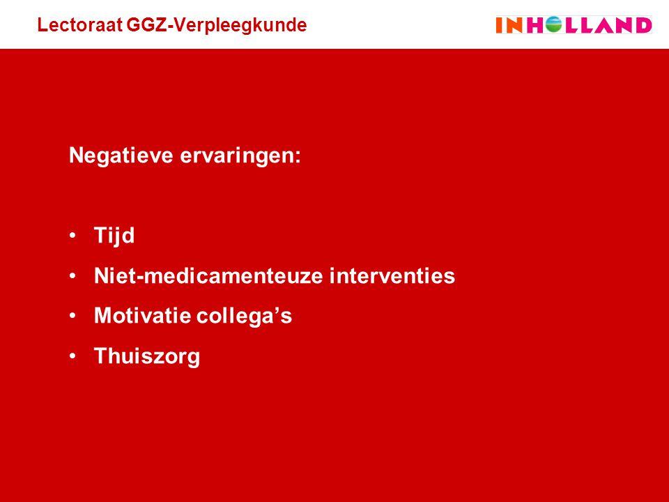 Lectoraat GGZ-Verpleegkunde Negatieve ervaringen: Tijd Niet-medicamenteuze interventies Motivatie collega's Thuiszorg