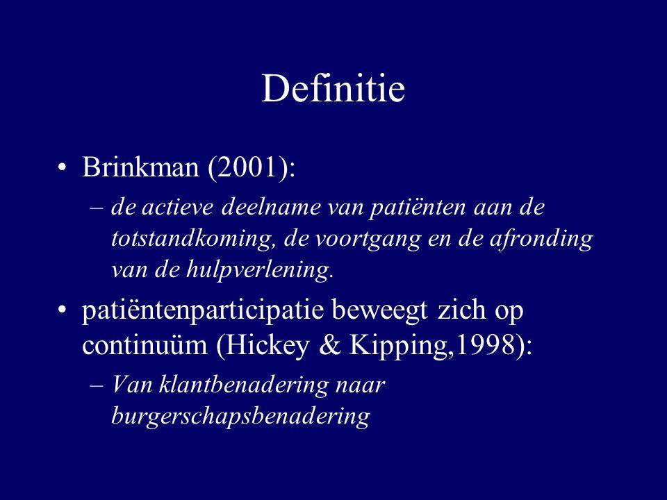Definitie Brinkman (2001): –de actieve deelname van patiënten aan de totstandkoming, de voortgang en de afronding van de hulpverlening. patiëntenparti
