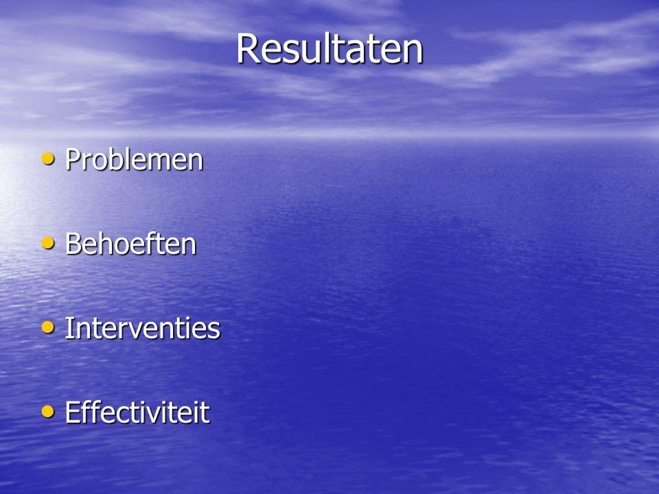 Resultaten Problemen Problemen Behoeften Behoeften Interventies Interventies Effectiviteit Effectiviteit