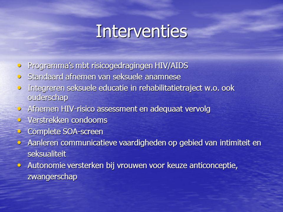 Interventies Programma's mbt risicogedragingen HIV/AIDS Programma's mbt risicogedragingen HIV/AIDS Standaard afnemen van seksuele anamnese Standaard a