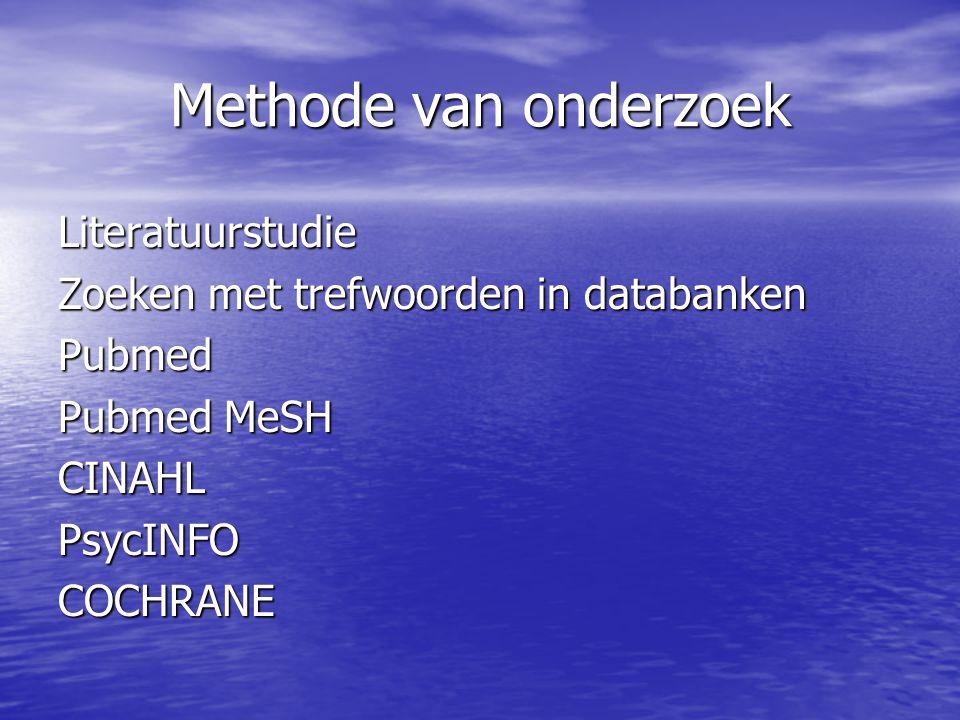 Methode van onderzoek Literatuurstudie Zoeken met trefwoorden in databanken Pubmed Pubmed MeSH CINAHLPsycINFOCOCHRANE