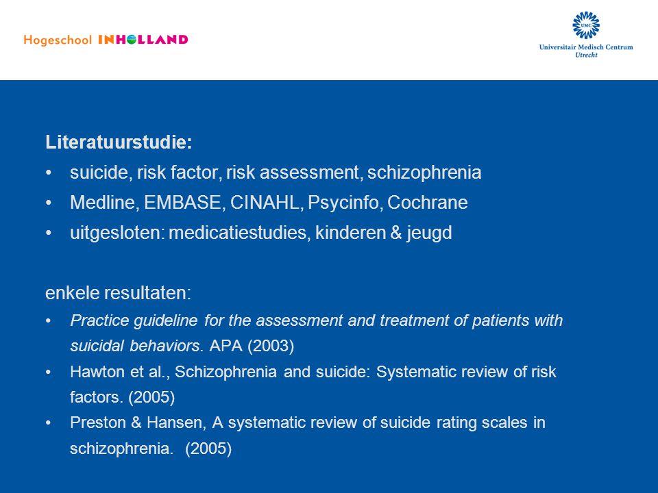 Literatuurstudie: suicide, risk factor, risk assessment, schizophrenia Medline, EMBASE, CINAHL, Psycinfo, Cochrane uitgesloten: medicatiestudies, kind