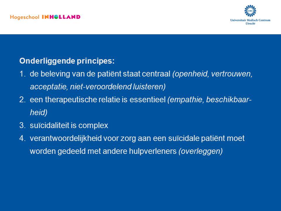 Onderliggende principes: 1.de beleving van de patiënt staat centraal (openheid, vertrouwen, acceptatie, niet-veroordelend luisteren) 2.een therapeutis