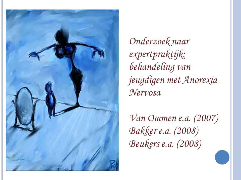 Onderzoek naar expertpraktijk: behandeling van jeugdigen met Anorexia Nervosa Van Ommen e.a. (2007) Bakker e.a. (2008) Beukers e.a. (2008)