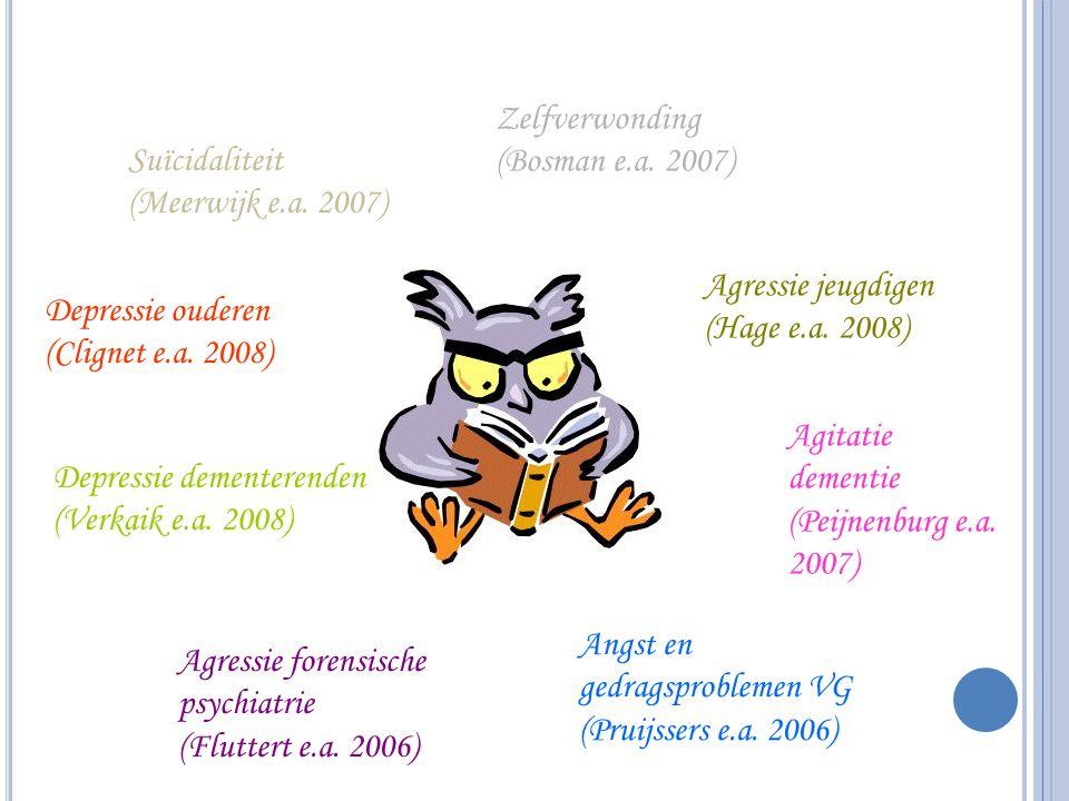 Suïcidaliteit (Meerwijk e.a. 2007) Zelfverwonding (Bosman e.a. 2007) Agressie jeugdigen (Hage e.a. 2008) Depressie ouderen (Clignet e.a. 2008) Depress