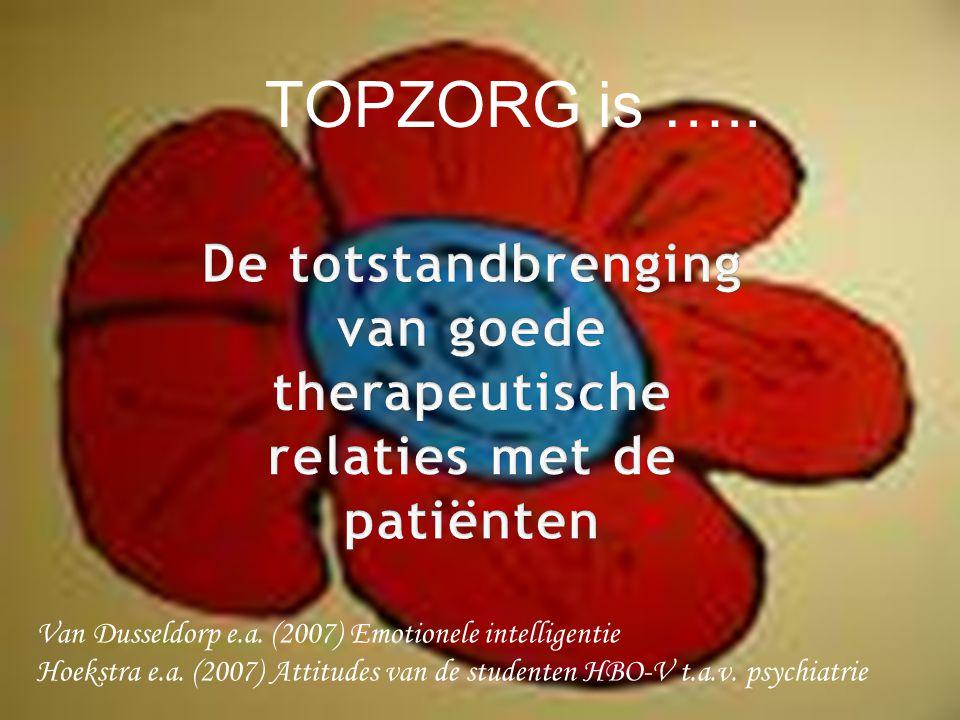 TOPZORG is ….. Van Dusseldorp e.a. (2007) Emotionele intelligentie Hoekstra e.a. (2007) Attitudes van de studenten HBO-V t.a.v. psychiatrie