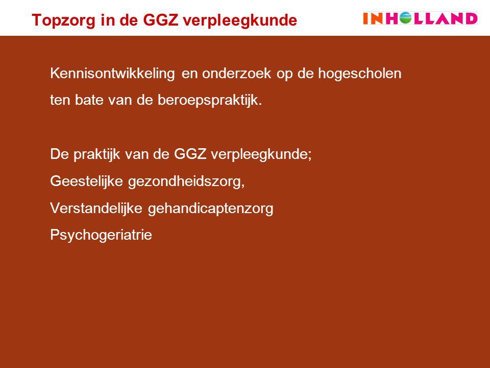 Topzorg in de GGZ verpleegkunde Praktijkgericht onderzoek is: 1.geworteld in de beroepspraktijk, vraagstellingen vanuit de professionele praktijk 2.Praktijkgestuurd, daarbij ook gericht op strategische vragen en langere termijn 3.O.a.