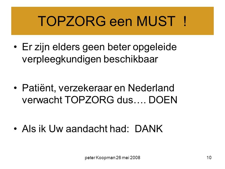 peter Koopman 26 mei 200810 TOPZORG een MUST ! Er zijn elders geen beter opgeleide verpleegkundigen beschikbaar Patiënt, verzekeraar en Nederland verw