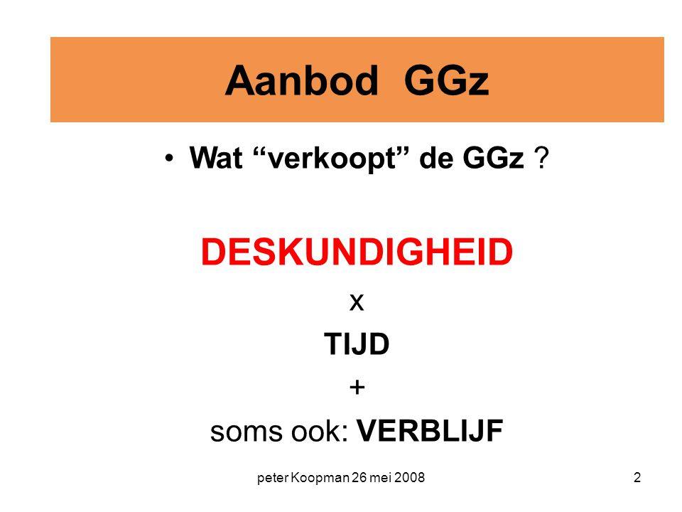 """peter Koopman 26 mei 20082 Aanbod GGz Wat """"verkoopt"""" de GGz ? DESKUNDIGHEID x TIJD + soms ook: VERBLIJF"""