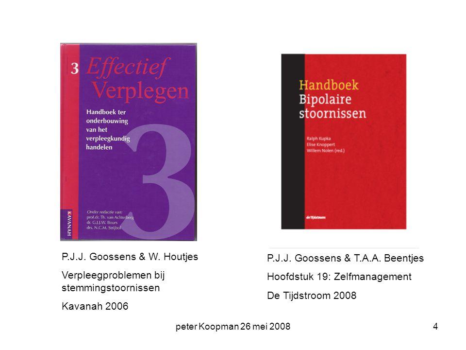 peter Koopman 26 mei 20084 P.J.J. Goossens & W. Houtjes Verpleegproblemen bij stemmingstoornissen Kavanah 2006 P.J.J. Goossens & T.A.A. Beentjes Hoofd
