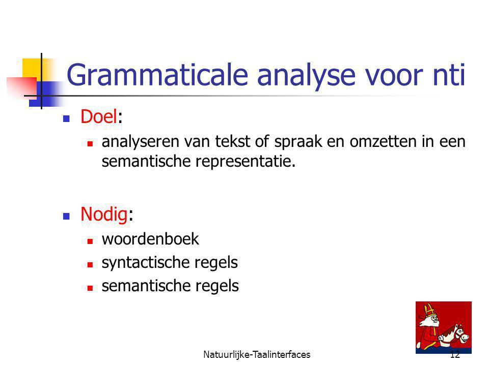 Natuurlijke-Taalinterfaces12 Grammaticale analyse voor nti Doel: analyseren van tekst of spraak en omzetten in een semantische representatie.