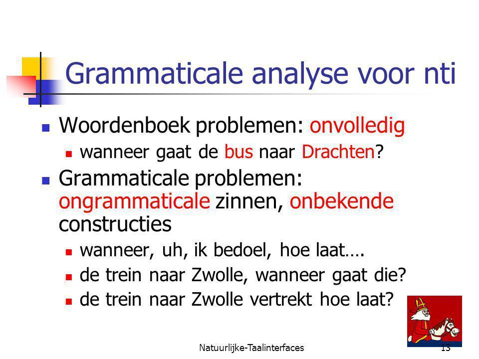 Natuurlijke-Taalinterfaces13 Grammaticale analyse voor nti Woordenboek problemen: onvolledig wanneer gaat de bus naar Drachten.