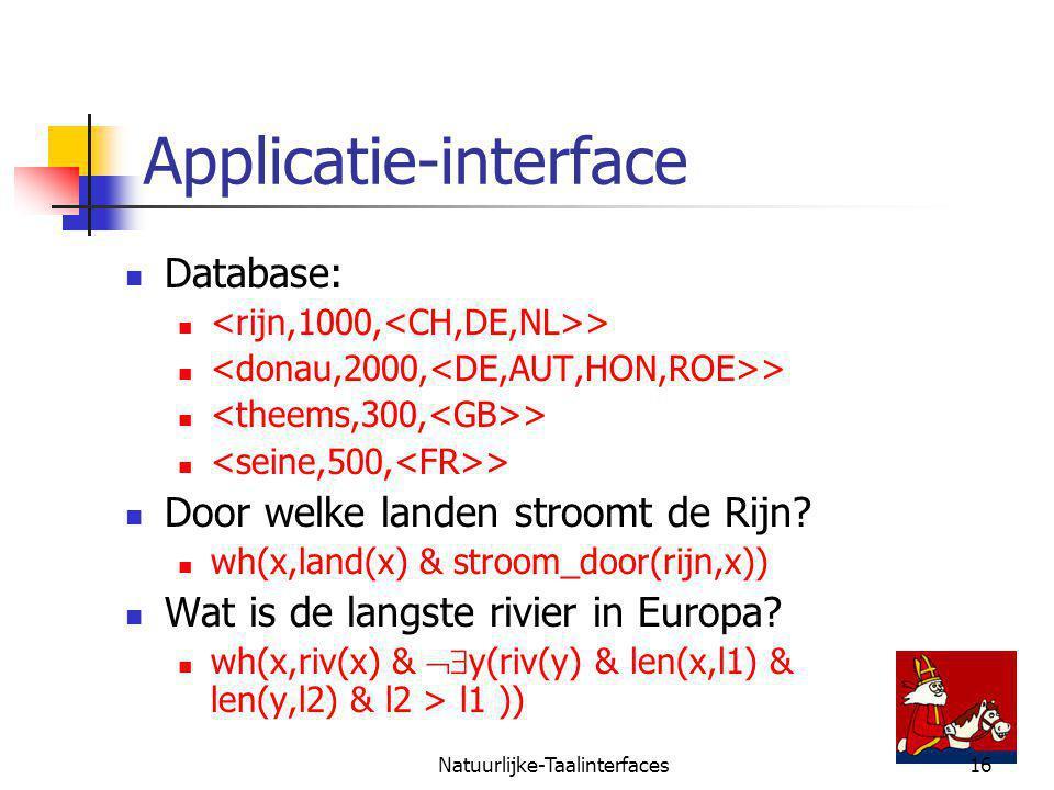 Natuurlijke-Taalinterfaces16 Applicatie-interface Database: > Door welke landen stroomt de Rijn.