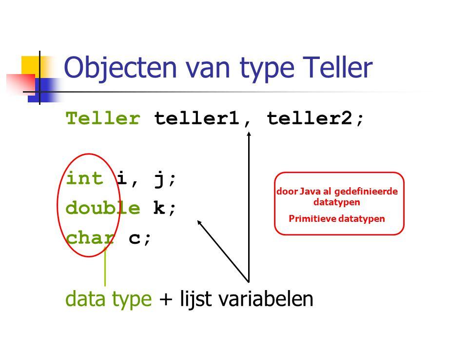 Objecten van type Teller Teller teller1, teller2; int i, j; double k; char c; data type + lijst variabelen door Java al gedefinieerde datatypen Primit