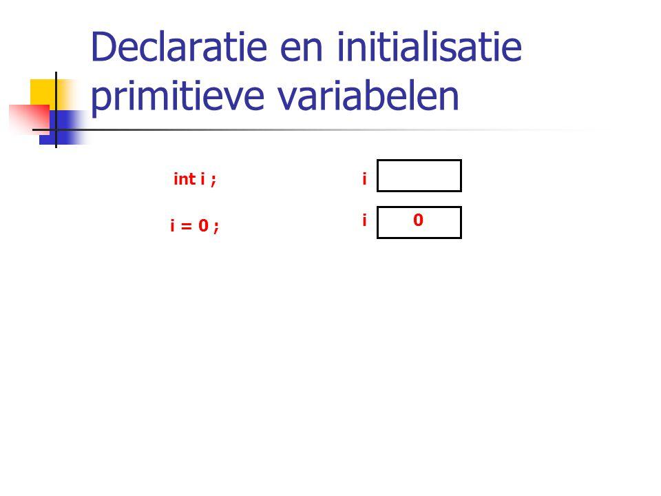 Declaratie en initialisatie primitieve variabelen int i ;i i = 0 ; i0