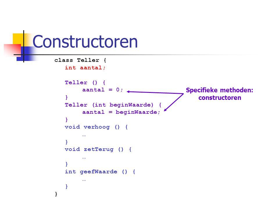 Constructoren class Teller { int aantal; Teller () { aantal = 0; } Teller (int beginWaarde) { aantal = beginWaarde; } void verhoog () { … } void zetTe