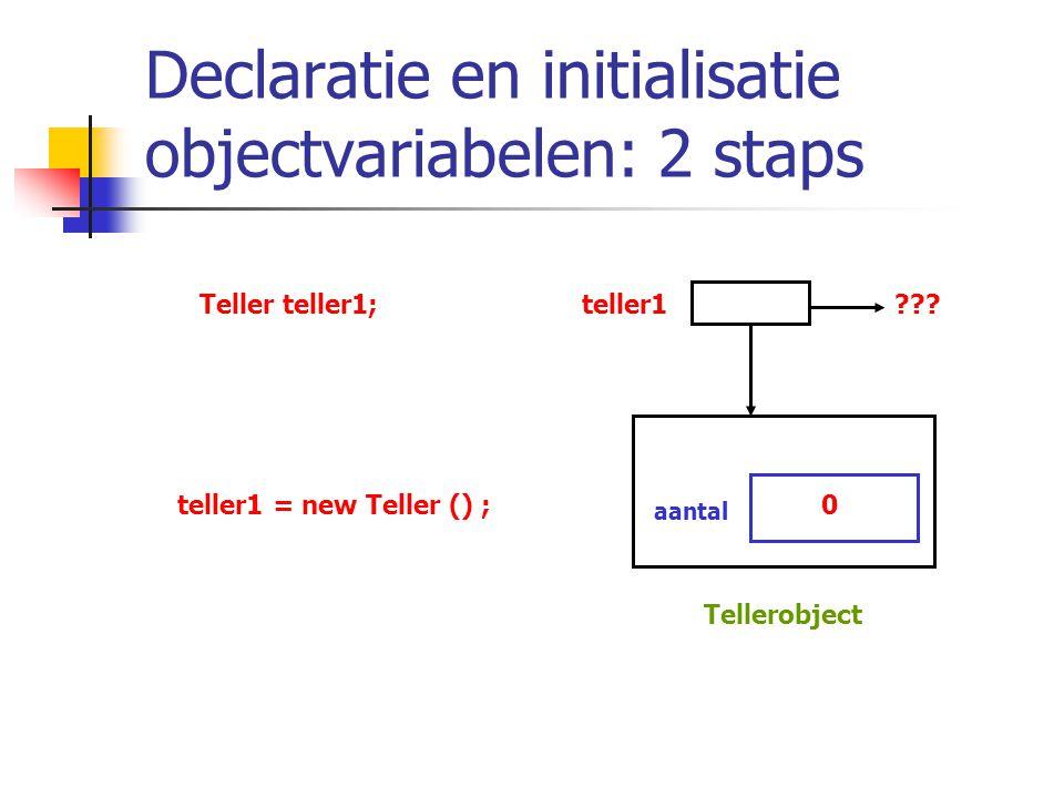 Declaratie en initialisatie objectvariabelen: 2 staps Teller teller1;teller1??? teller1 = new Teller () ;0 aantal Tellerobject