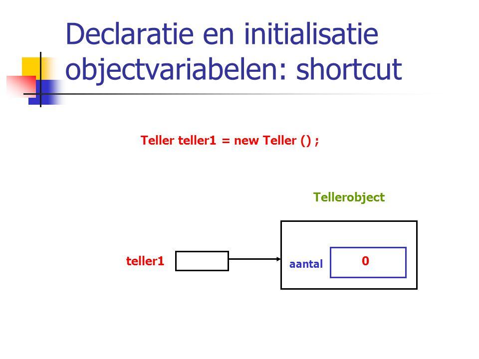 Declaratie en initialisatie objectvariabelen: shortcut Teller teller1 = new Teller () ; teller10 aantal Tellerobject