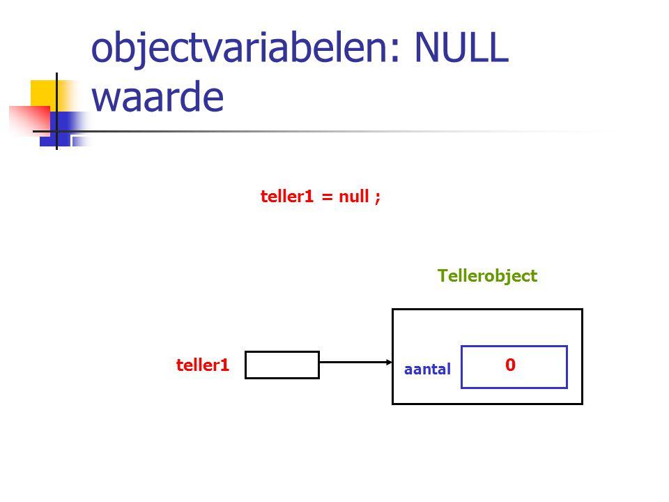 objectvariabelen: NULL waarde teller1 = null ; teller10 aantal Tellerobject