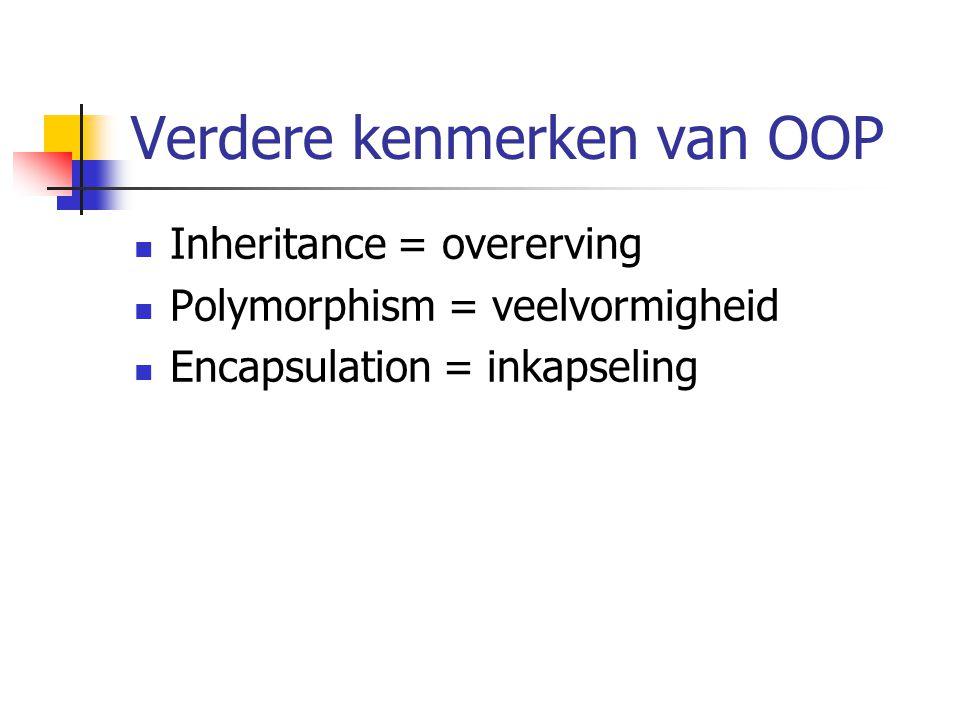 Verdere kenmerken van OOP Inheritance = overerving Polymorphism = veelvormigheid Encapsulation = inkapseling