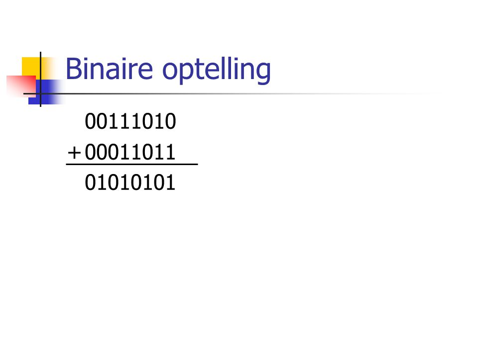 Binaire optelling 00111010 +00011011 01010101