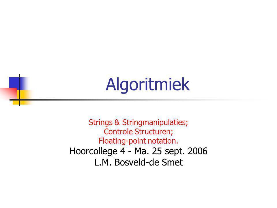 Werken met Strings: Voorbeeld 2 public class Star{ public static void main(String[] args){ String name = Francis Albert Sinatra ; int index1 = name.indexOf( ); int index2 = name.LastIndexOf( ); String str1 = name.substring(0,index1); String str2 = name.substring(index1+1, index1+2); String str3 = name.substring(index2+1); System.out.println(str3 + , + str1 + + str2 + . ); }