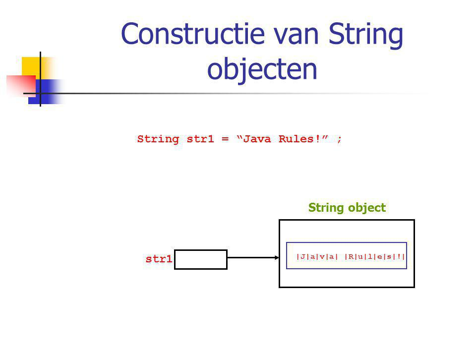 Constructie van String objecten String str1 = Java Rules! ; str1 |J|a|v|a| |R|u|l|e|s|!| String object
