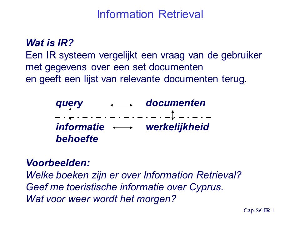 Cap.Sel IR 1 Information Retrieval Wat is IR.