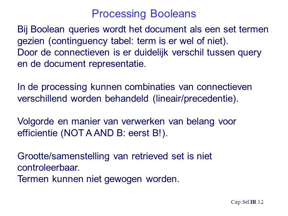 Cap.Sel IR 12 Processing Booleans Bij Boolean queries wordt het document als een set termen gezien (continguency tabel: term is er wel of niet).