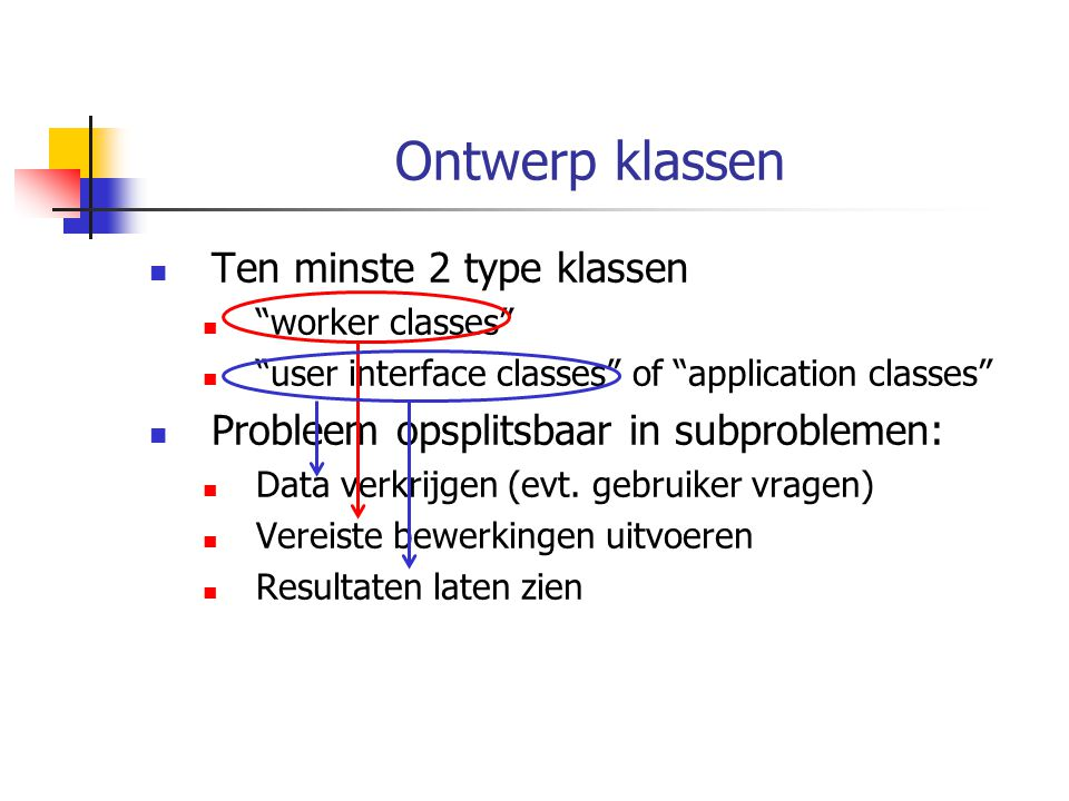 Ontwerp klassen Ten minste 2 type klassen worker classes user interface classes of application classes Probleem opsplitsbaar in subproblemen: Data verkrijgen (evt.