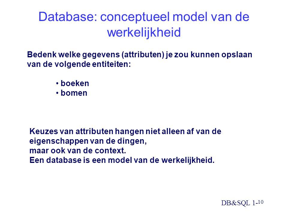 DB&SQL 1- 10 Database: conceptueel model van de werkelijkheid Bedenk welke gegevens (attributen) je zou kunnen opslaan van de volgende entiteiten: boe