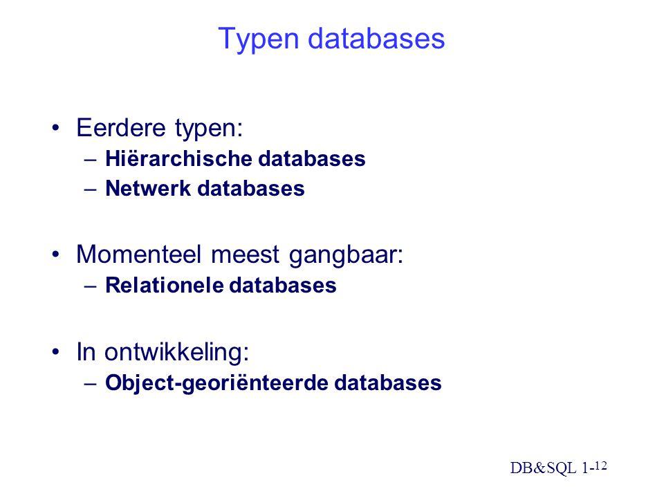 DB&SQL 1- 12 Typen databases Eerdere typen: –Hiërarchische databases –Netwerk databases Momenteel meest gangbaar: –Relationele databases In ontwikkeling: –Object-georiënteerde databases