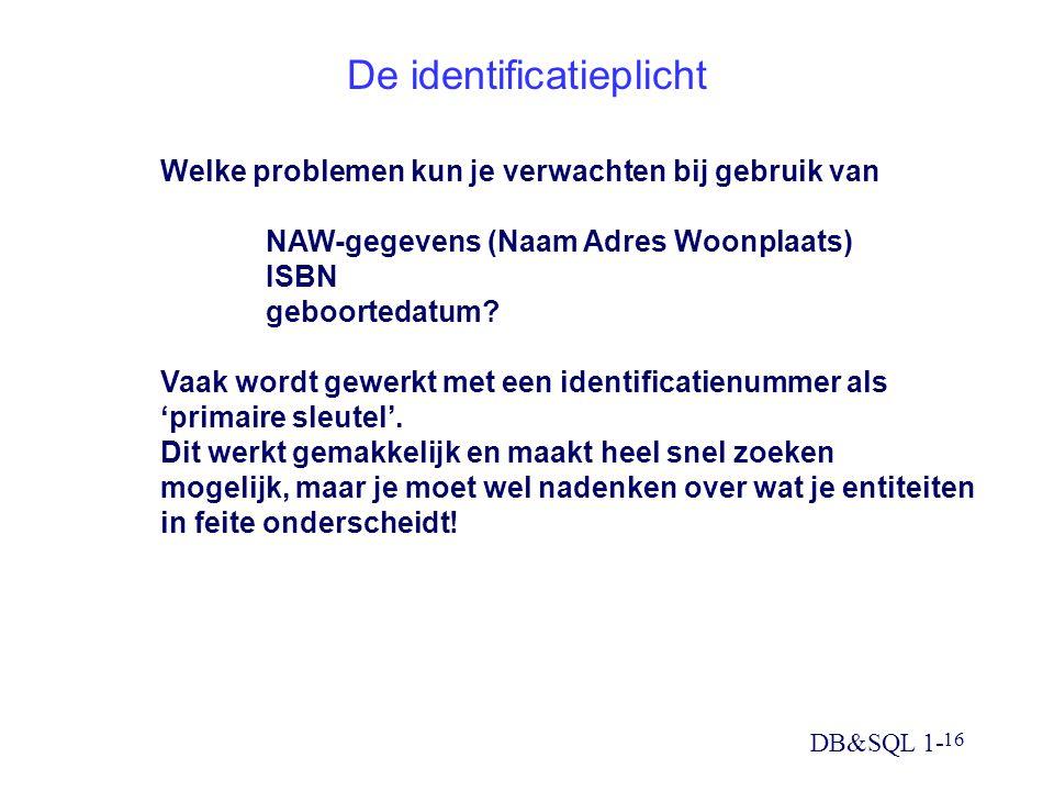 DB&SQL 1- 16 De identificatieplicht Welke problemen kun je verwachten bij gebruik van NAW-gegevens (Naam Adres Woonplaats) ISBN geboortedatum.