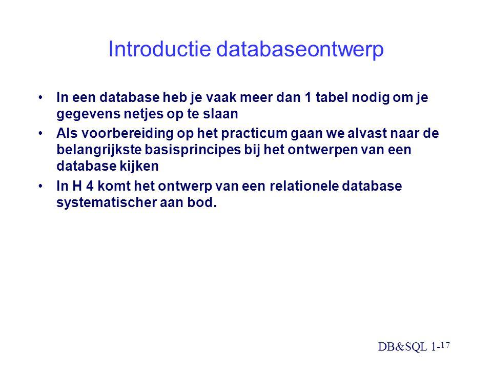 DB&SQL 1- 17 Introductie databaseontwerp In een database heb je vaak meer dan 1 tabel nodig om je gegevens netjes op te slaan Als voorbereiding op het practicum gaan we alvast naar de belangrijkste basisprincipes bij het ontwerpen van een database kijken In H 4 komt het ontwerp van een relationele database systematischer aan bod.