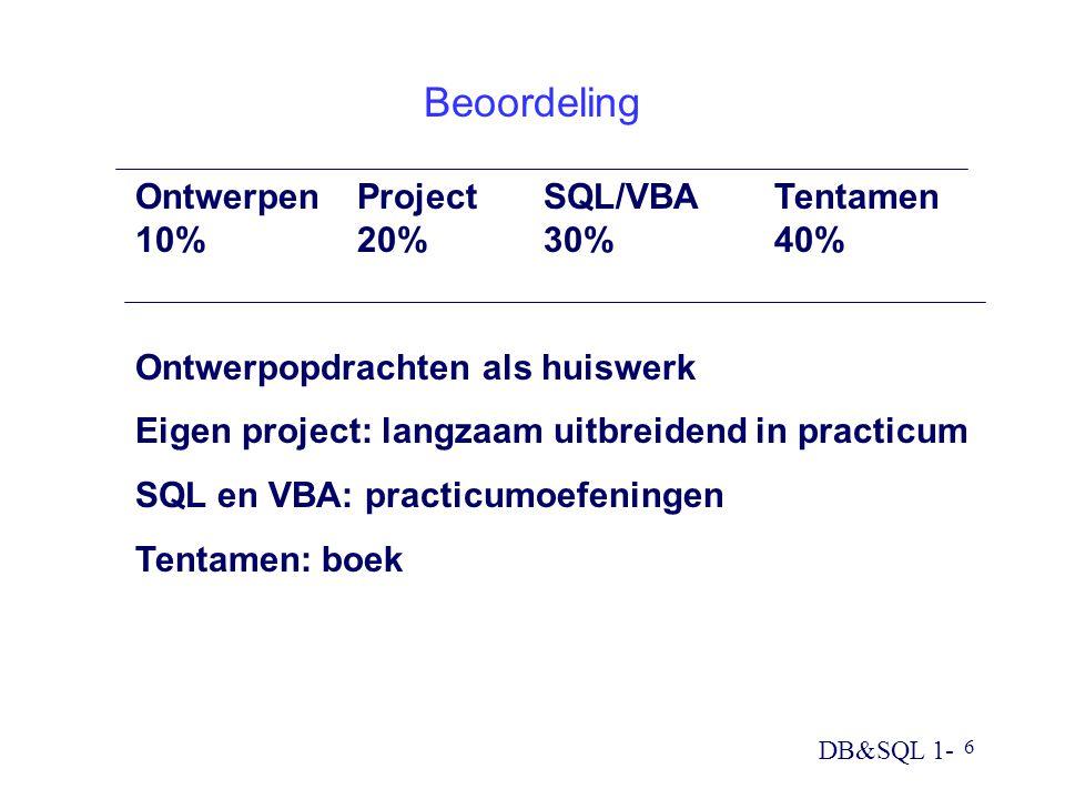 DB&SQL 1- 6 Beoordeling OntwerpenProject SQL/VBATentamen 10%20% 30%40% Ontwerpopdrachten als huiswerk Eigen project: langzaam uitbreidend in practicum SQL en VBA: practicumoefeningen Tentamen: boek