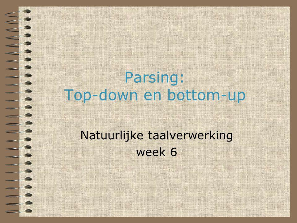 Parsing: Top-down en bottom-up Natuurlijke taalverwerking week 6