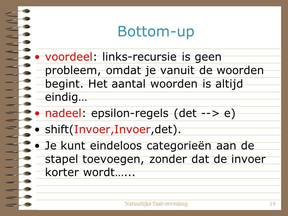 Natuurlijke Taalverwerking19 Bottom-up voordeel: links-recursie is geen probleem, omdat je vanuit de woorden begint. Het aantal woorden is altijd eind