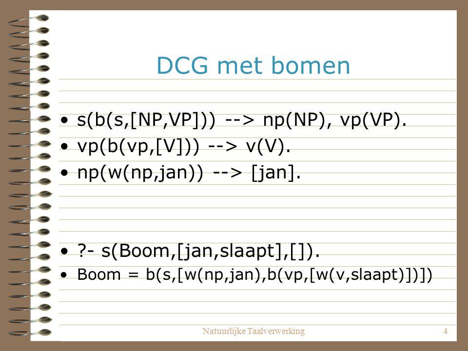 Natuurlijke Taalverwerking4 DCG met bomen s(b(s,[NP,VP])) --> np(NP), vp(VP). vp(b(vp,[V])) --> v(V). np(w(np,jan)) --> [jan]. ?- s(Boom,[jan,slaapt],