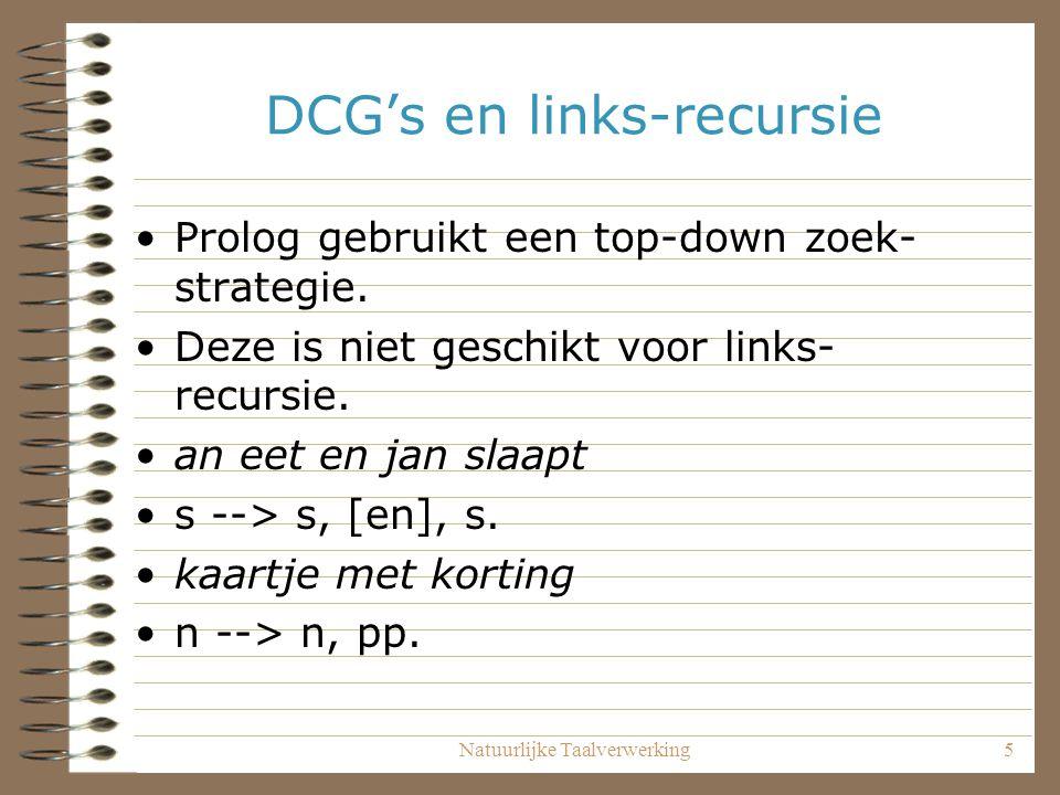Natuurlijke Taalverwerking5 DCG's en links-recursie Prolog gebruikt een top-down zoek- strategie. Deze is niet geschikt voor links- recursie. an eet e