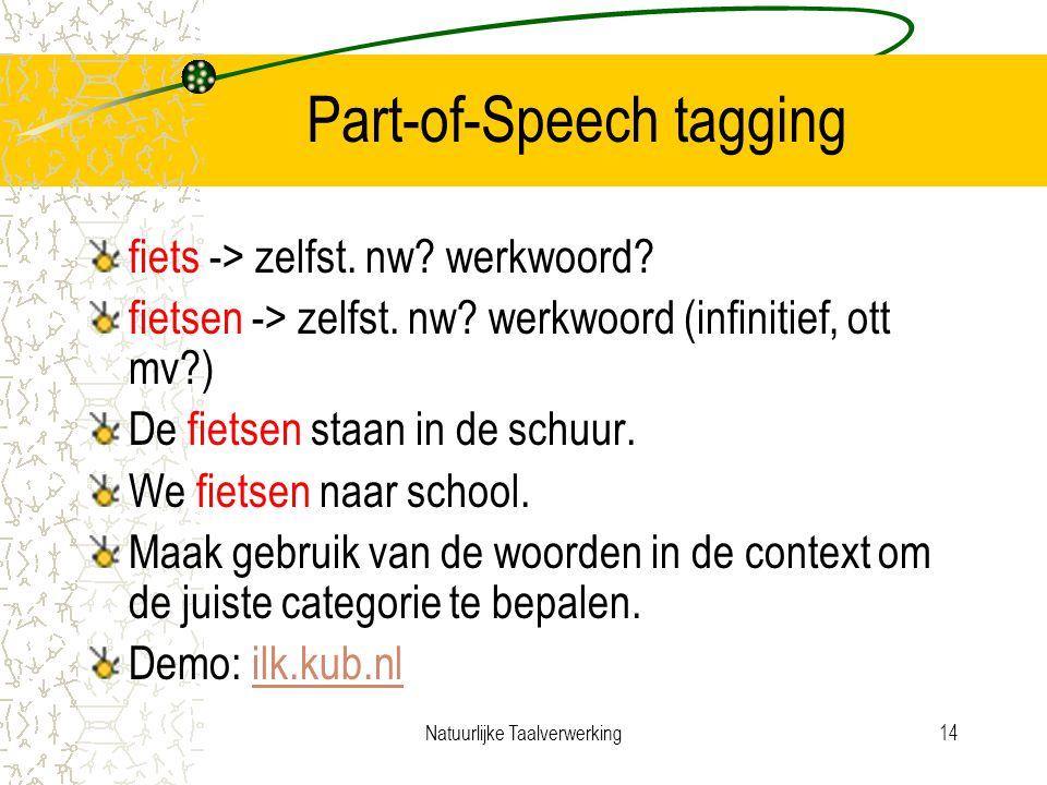Natuurlijke Taalverwerking14 Part-of-Speech tagging fiets -> zelfst.