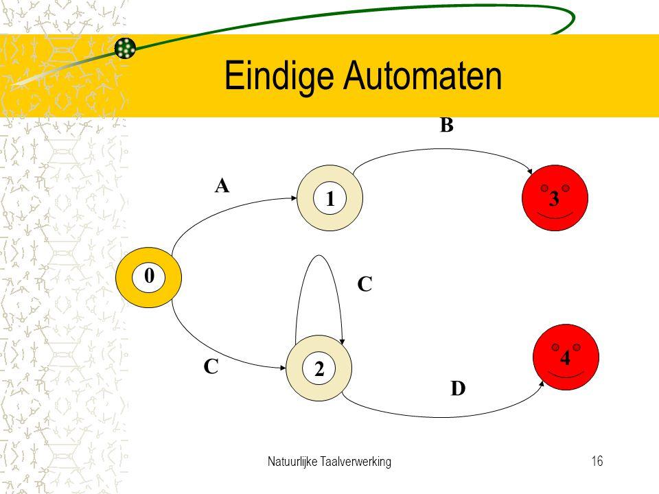 Natuurlijke Taalverwerking16 Eindige Automaten 3 4 0 1 2 A B C C D