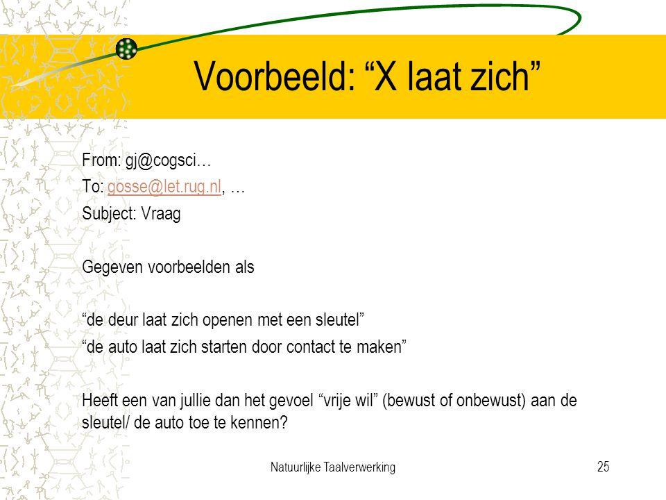 Natuurlijke Taalverwerking25 Voorbeeld: X laat zich From: gj@cogsci… To: gosse@let.rug.nl, …gosse@let.rug.nl Subject: Vraag Gegeven voorbeelden als de deur laat zich openen met een sleutel de auto laat zich starten door contact te maken Heeft een van jullie dan het gevoel vrije wil (bewust of onbewust) aan de sleutel/ de auto toe te kennen?