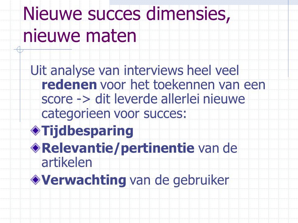Nieuwe succes dimensies, nieuwe maten Uit analyse van interviews heel veel redenen voor het toekennen van een score -> dit leverde allerlei nieuwe cat