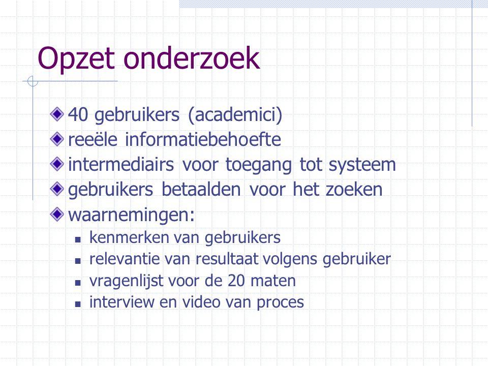 Opzet onderzoek 40 gebruikers (academici) reeële informatiebehoefte intermediairs voor toegang tot systeem gebruikers betaalden voor het zoeken waarne
