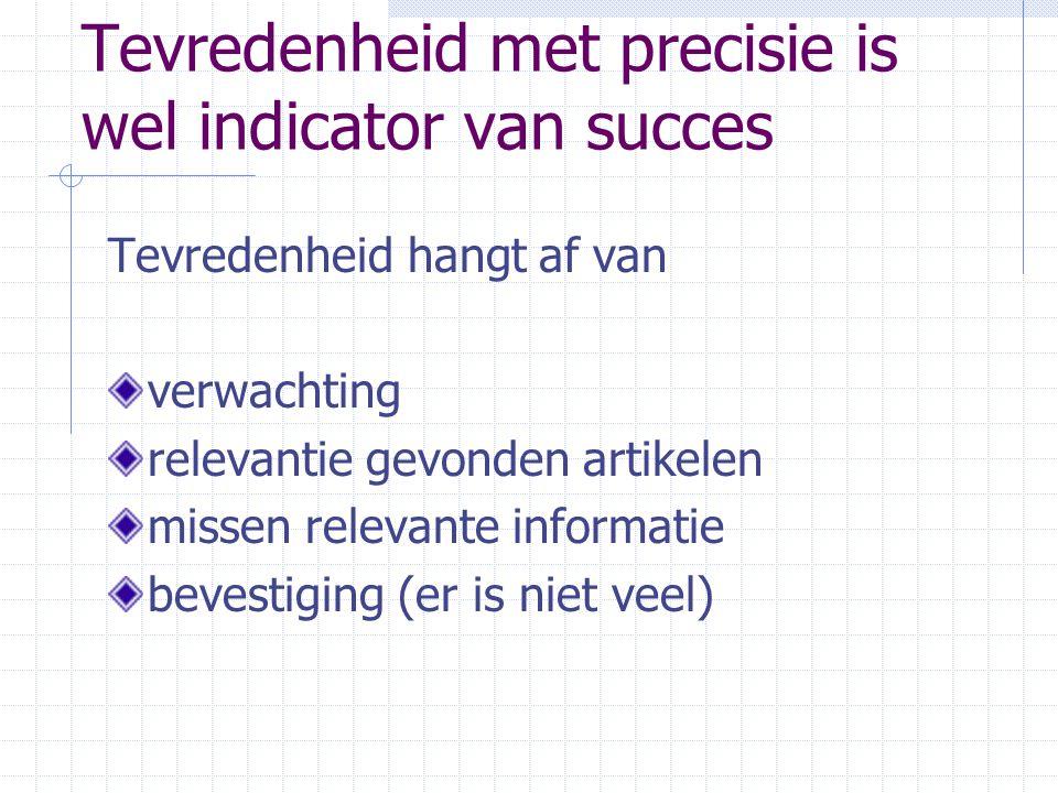 Tevredenheid met precisie is wel indicator van succes Tevredenheid hangt af van verwachting relevantie gevonden artikelen missen relevante informatie