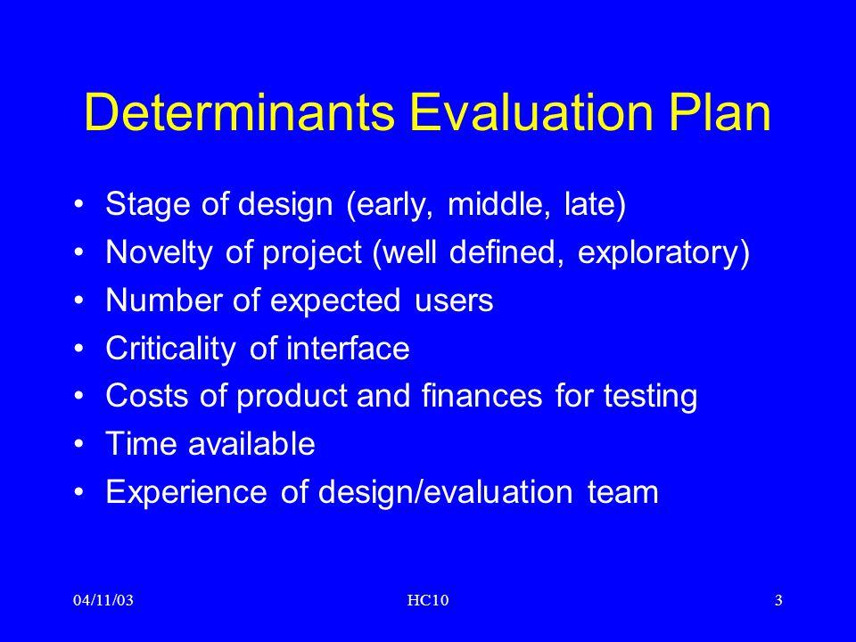 04/11/03HC104 Evaluatie: globaal overzicht Doel van evaluatie: testen van –'functionality' –'usability' –'acceptability' Plaats van evaluatie: –laboratorium –veld Moment van evaluatie: –gedurende de gehele 'design life cycle'