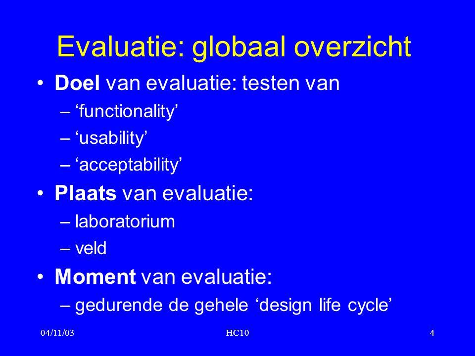 04/11/03HC104 Evaluatie: globaal overzicht Doel van evaluatie: testen van –'functionality' –'usability' –'acceptability' Plaats van evaluatie: –labora