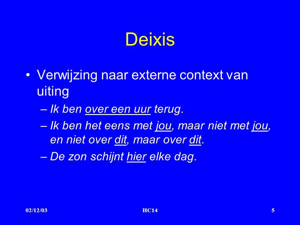 02/12/03HC145 Deixis Verwijzing naar externe context van uiting –Ik ben over een uur terug.