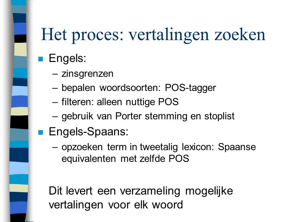 Het proces: vertalingen zoeken n Engels: –zinsgrenzen –bepalen woordsoorten: POS-tagger –filteren: alleen nuttige POS –gebruik van Porter stemming en